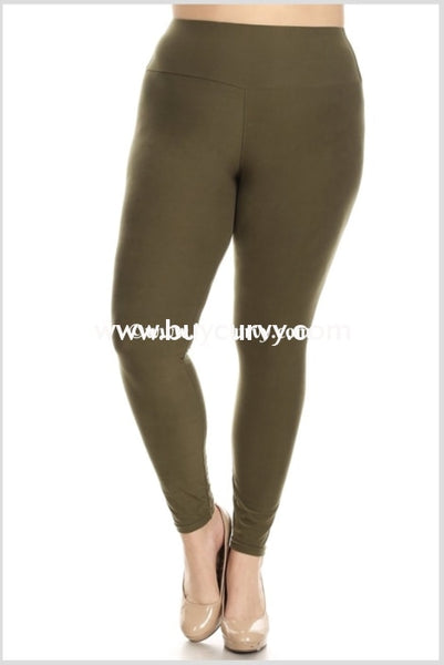 Leg-Pq {My Lucky Day} Olive Poly/spandex Soft Leggings