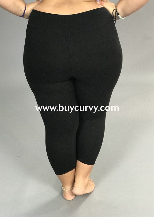 Leg/bt-Black High Waistband Yoga Capri Leggings (Butter-Soft)