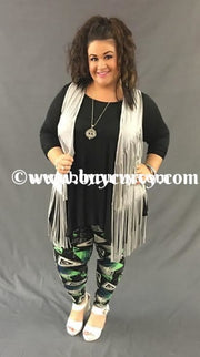 Leg/cp- Black Leggings With Green & Gray Triangle Print