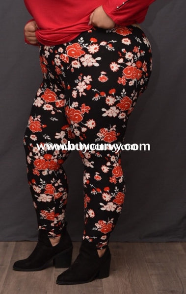Leg/cp-Black Leggings With Red & White Floral Print