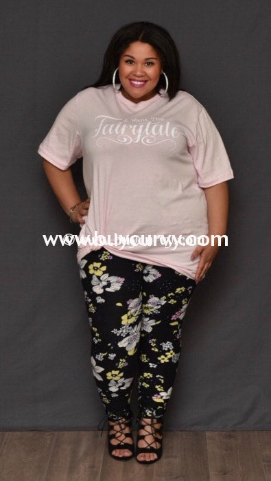 Leg/cp- Black Leggings With White Yellow & Pink Floral Print
