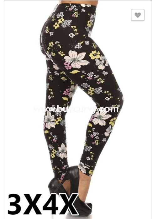 3a1302f0f969fd LEG/Q- Black Leggings with White,Yellow & Pink Floral Print – Curvy  Boutique Plus Size Clothing