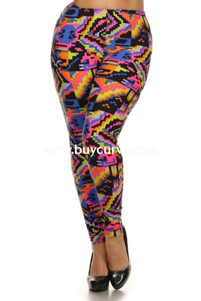 Leg/cp-Pink/green Pixel Microfiber Full-Length Leggings