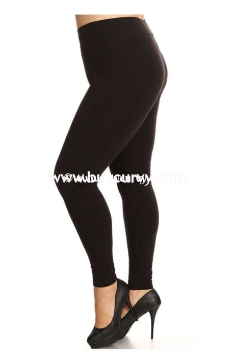 Leg/cp-Sofra Black Cotton/spandex Leggings
