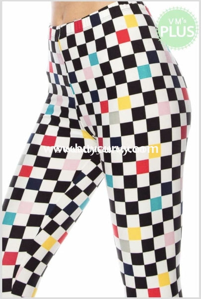 Leg/gt 80S Baby Black/white Checkered Neon Leggings