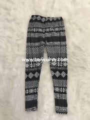 Leg/gt -Black/white Snowflake Print Leggings