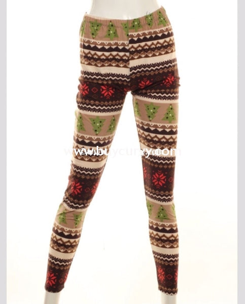 Leg/gt - F Brown Christmas Tree & Snowflake Leggings