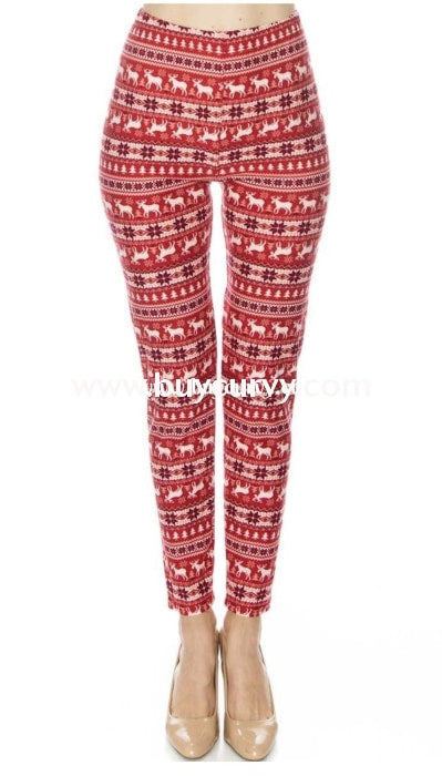 Leg/gt Happy Holidays Red Snowflake/deer Leggings