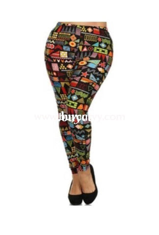 Leg/pls-Black Leggings With Multi-Color Shapes