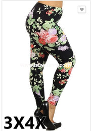 Leg/pls- Black Leggings With Springtime Floral Print