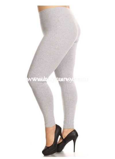 Leg/pls &cp- Sofra Gray Cotton/spandex Leggings