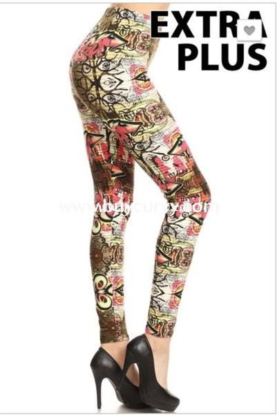Leg/pls-{Extended Plus} Fuchsia/multi Graffiti Print Leggings
