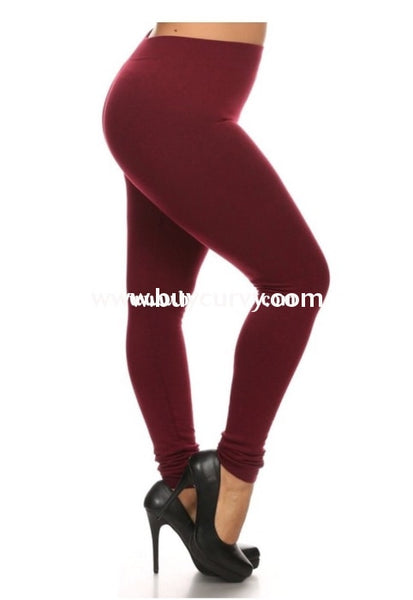 Leg/pls- Rosio Burgundy Soft French-Terry Leggings
