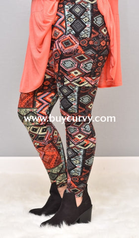 Leg/pq- Black/pink Abstract Print Leggings Poly/spandex