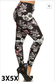 Leg/pq- {Extended Plus} Black Floral Print Soft Leggings