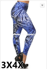 Leg/pq- Royal Blue Tie-Dye Print Leggings