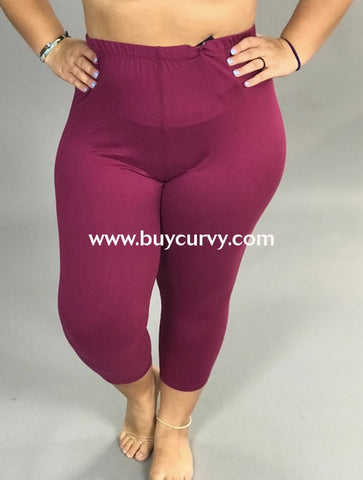 Leg/pq-Wine Capri Leggings With Elastic Waistband (Soft!)