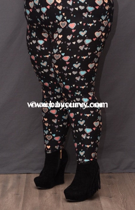 Leg/pq2- {Extended Plus} Black-Pink Heart Printed Leggings (Soft)