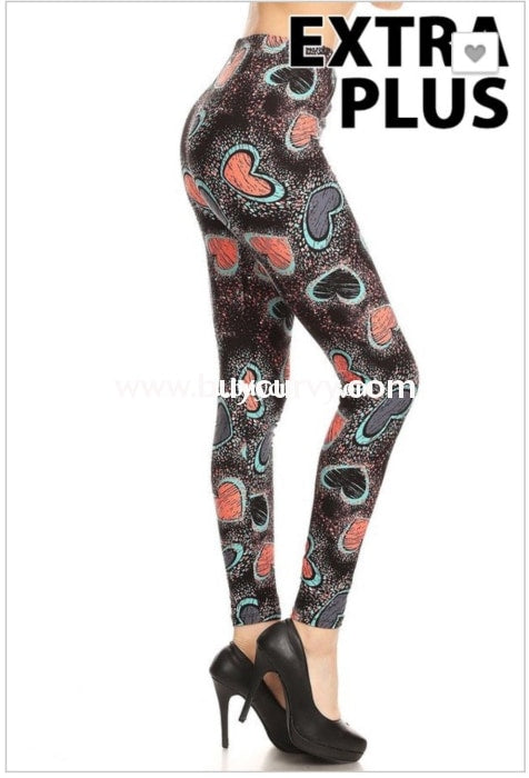 Leg/pq2-{Extended Plus} Salmon/teal Heart Leggings (Soft)