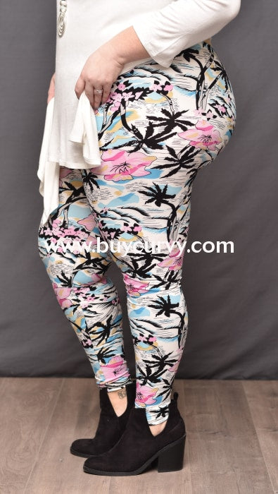 Leg/pq2 Ivory/multi Tropical Print (Soft) Leggings