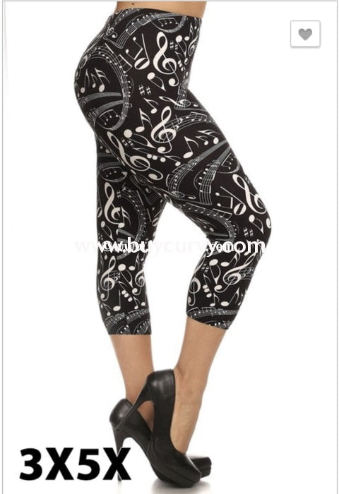 Leg/pq2 Jamming Out Black/ivory Music Note Print Leggings
