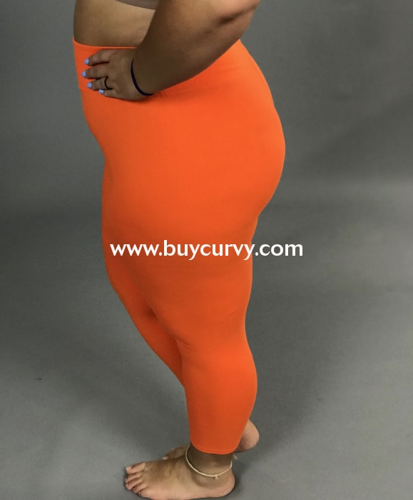 Leg/pq2-Orange High Waistband Yoga Capri Leggings (Butter-Soft)