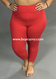 Leg/pq2-Red High Waistband Yoga Capri Leggings (Butter-Soft)