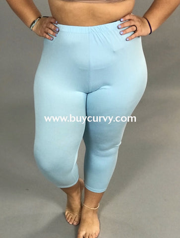 Leg/pq2-Sky Blue Capri Leggings With Elastic Waistband (Soft!)