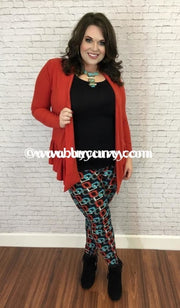 Leg/pss- Black Leggings With Teal & Red Square Designs