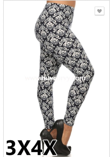 Leg/pss-Blue & White Damask Print Leggings
