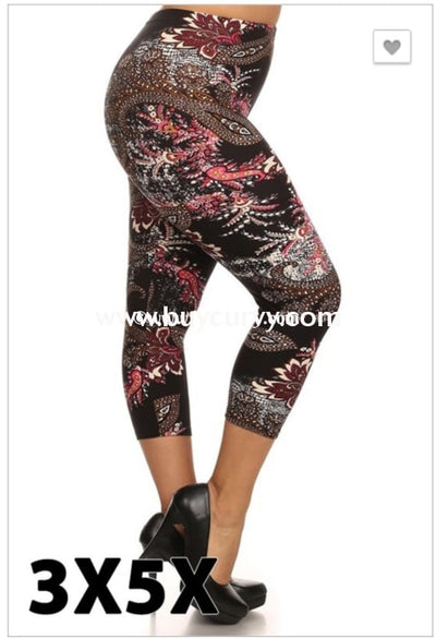 Leg/pss- {Extended Plus} Black Capri Leggings With Multi Color Paisley Print