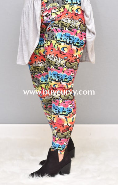 Leg/pss-{Extended Plus} Multi-Color Graffiti Print Leggings