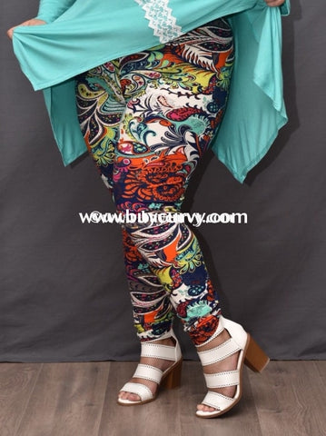 Leg/pss- {Extended Plus} Paisley Multi Color Navy/ivory (Soft) Print Leggings