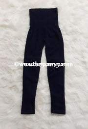 Leg/pss- Indigo Navy French Terry Tummy Control Leggings