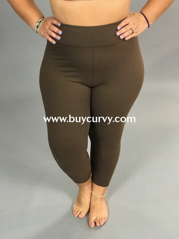 Leg/pss-Mocha High Waistband Yoga Capri Leggings (Butter-Soft)