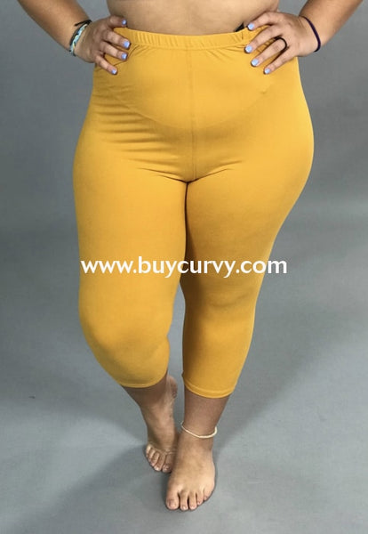 Leg/pss-Mustard Capri Leggings With Elastic Waistband (Soft!)