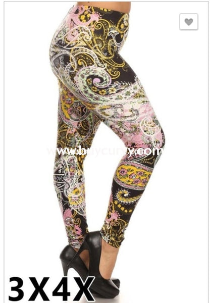 Leg/pss-Pink Lime & Yellow Paisley Print Leggings