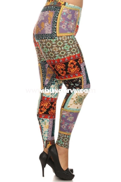 Leg/pss-Tribal/floral Patchwork Printed Leggings