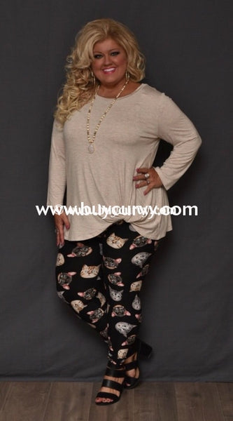 Leg/sd-Black Buttery Soft Leggings With Kitty-Cat Print