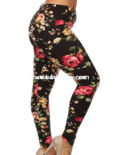 Leg/sd-Black Leggings With Pink & Gold Rose Print