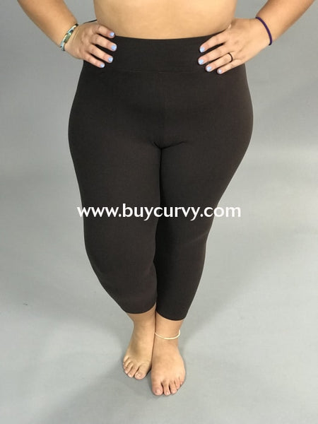Leg/sd-Brown High Waistband Yoga Capri Leggings (Butter-Soft)
