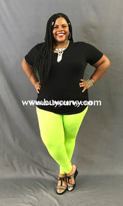 Leg/sd- {Extended Plus} Neon Lime Leggings (92% Poly/8% Spandex) 3X/5X