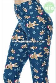 Leg/sd Little Gingerbread Man Teal Snowflake Leggings