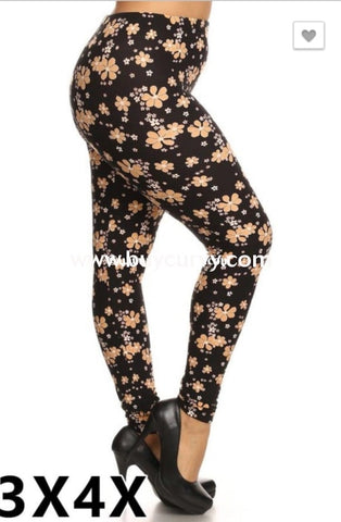 Leg/sls- Black Leggings With Buttercream Floral Print