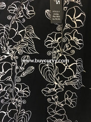 Leg/sls-Black & White Stencil Art Floral Leggings