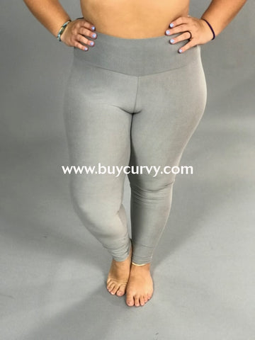 Leg/sls-Light Gray High Waistband Yoga Capri Leggings (Soft)