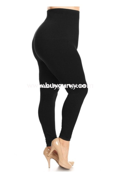 Leg/sls-Raven Black French Terry Tummy Control Leggings