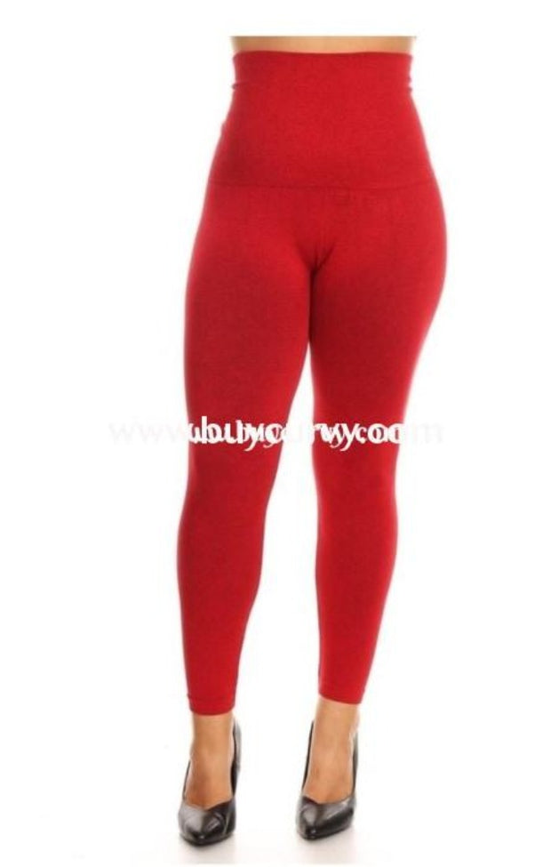 Leg/sls-Red French Terry Tummy Control Leggings