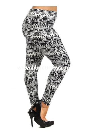 Leg/sss- Always Black/ivory Aztec Print Leggings