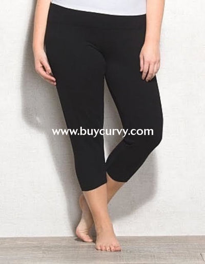 Leg/sss- Black Cotton/spandex (1X2X3X) Leggings 1X